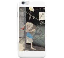 Moon Over A Single Dwelling - Yoshitoshi Taiso - 1880 - woodcut iPhone Case/Skin