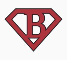B letter in Superman style Baby Tee