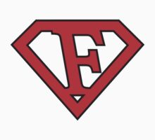 F letter in Superman style by florintenica