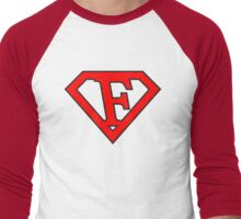 F letter in Superman style Men's Baseball ¾ T-Shirt