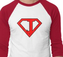 J letter in Superman style Men's Baseball ¾ T-Shirt