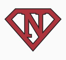 N letter in Superman style Baby Tee