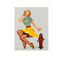 Pin-Up Girl 'All Wound Up!' Art Print