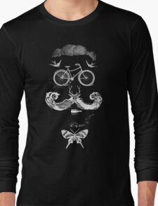 vintage bike face - white Long Sleeve T-Shirt