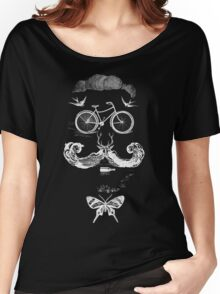vintage bike face - white Women's Relaxed Fit T-Shirt