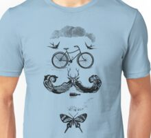 vintage bike face - black Unisex T-Shirt