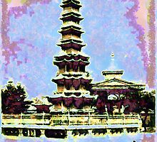 A digital painting of the Buddhist Marble Pagoda, a present from China to Korea in the 13th century by Dennis Melling