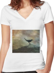 Birds Diptych 2/2 Women's Fitted V-Neck T-Shirt