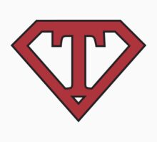 T letter in Superman style Baby Tee