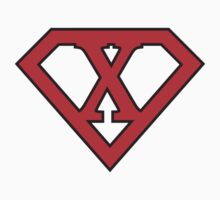 X letter in Superman style by florintenica