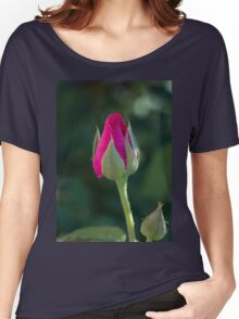 Pink Rose Bud Women's Relaxed Fit T-Shirt