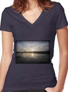 April Minsi Setting Women's Fitted V-Neck T-Shirt