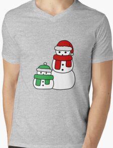 Cute Red and Green Snowmen Mens V-Neck T-Shirt