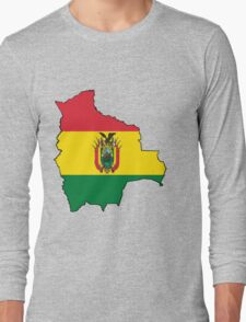 Bolivia Map with Bolivian Flag Long Sleeve T-Shirt