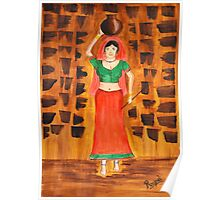 Indian Village Woman Poster
