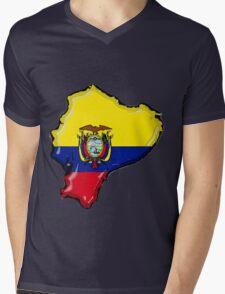 Ecuador Map With Ecuadorean Flag Mens V-Neck T-Shirt