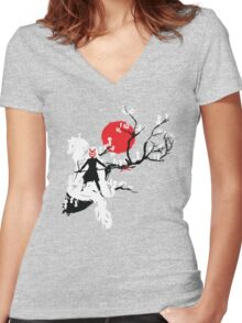 Japanese Wolf Women's Fitted V-Neck T-Shirt
