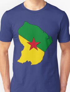 French Guiana Map With French Guianian Flag Unisex T-Shirt