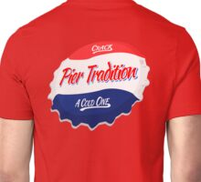 Pier Tradition Red, White and Blue Bottle Cap Unisex T-Shirt