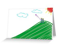 Lovers Flying Kite On Hill Vector Drawing Greeting Card
