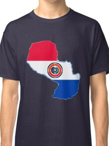 Paraguay Map With Paraguay Flag Classic T-Shirt