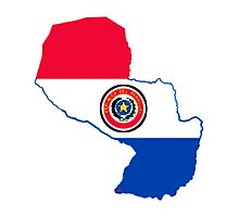 Paraguay Map With Paraguay Flag Photographic Print