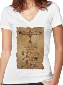 DaVinci's Dragon (Hiccup's Sketchbook) Women's Fitted V-Neck T-Shirt