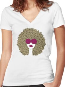 Afro girl Women's Fitted V-Neck T-Shirt