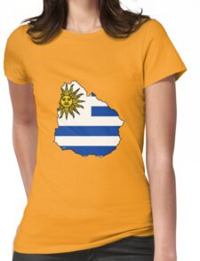 Uruguay Map With Uruguay Flag Womens Fitted T-Shirt