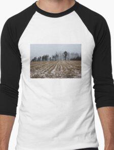 Snowy Winter Cornfields Men's Baseball ¾ T-Shirt