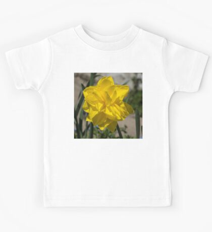 Sunny Yellow Spring - a Golden Double Daffodil Kids Tee