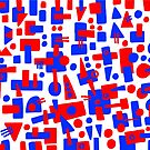 Blue and Red Shapes Abstract by Artberry