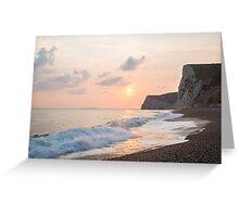 Sundown at Durdle Door beach Greeting Card