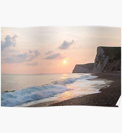 Sundown at Durdle Door beach Poster
