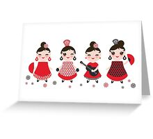 Flamenco girls with fans and guitars Greeting Card