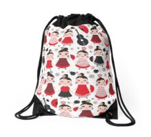 Flamenco girls with fans and guitars Drawstring Bag