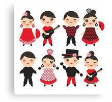 Happy flamencas on green Canvas Print