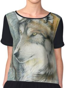 The Grey (but Colorful) Wolf Chiffon Top