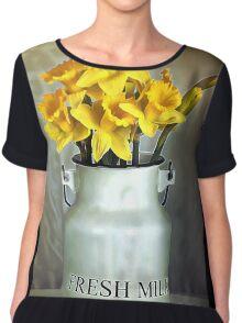 Milk Jug and Daffodils  Chiffon Top
