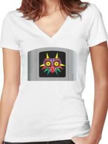 Majora's Mask N64 Cartridge Women's Fitted V-Neck T-Shirt