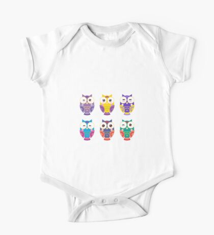 Colourful owls One Piece - Short Sleeve