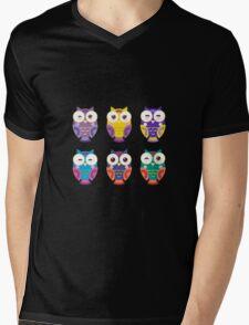 Colourful owls Mens V-Neck T-Shirt