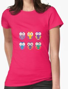 Colourful owls Womens Fitted T-Shirt