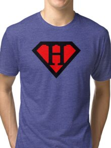 H letter in Superman style Tri-blend T-Shirt