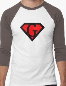 G letter in Superman style Men's Baseball ¾ T-Shirt
