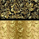 Black And Shiny Gold Floral Damasks Pattern by artonwear