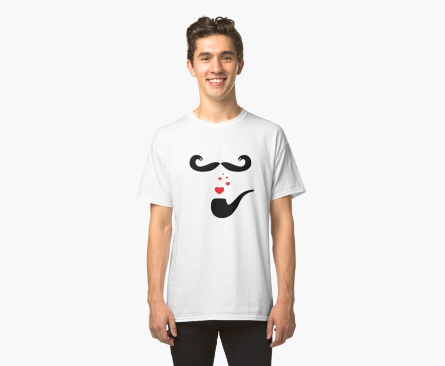 Mustache Love Hearts Pipe Smoker Funny T-Shirt by CroDesign