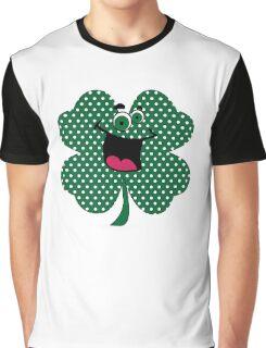 Retro Dots Cartoon Comic Shamrock T-Shirt Graphic T-Shirt