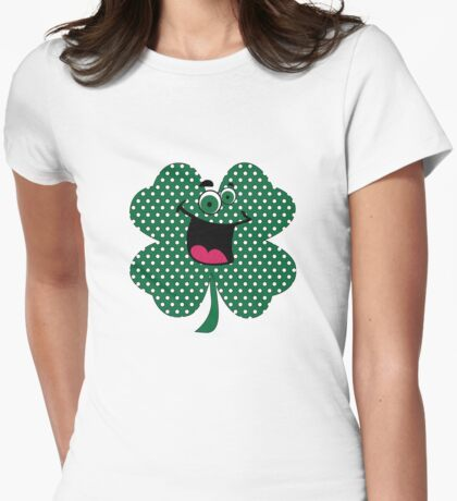 Retro Dots Cartoon Comic Shamrock T-Shirt Womens Fitted T-Shirt