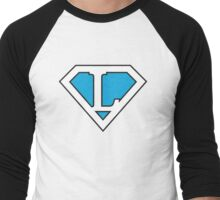 L letter in Superman style Men's Baseball ¾ T-Shirt